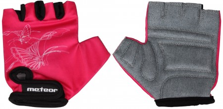 Otroške kolesarske rokavice Meteor roza velikost 6