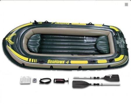 Intex napihljiv čoln za 4 osebe z vesli in tlačilko