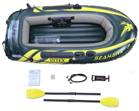 Intex napihljiv čoln za 2 osebi z vesli in tlačilko