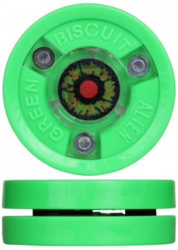 Hokejski pak Green Biscuit Alien zelen z LED lučko